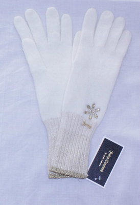 Juicy Couture Women's Angora & Lurex Rhinestone Embellished Knit Gloves -Angel Cream (One Size)
