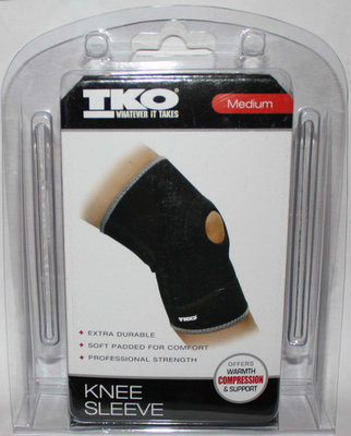 TKO Unisex Black Compression Knee Sleeve (Medium)