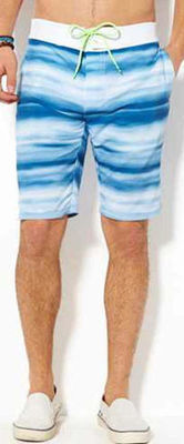 American Eagle Men's Swim Board Shorts -Blue and White Soft Striped (Medium)