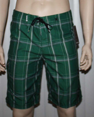 Hurley PUERTO RICO Men's Dark Green/Grays Plaid Swim Board Shorts (Size 32)