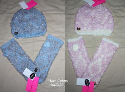 Betsey Johnson Women's Crocheted Hat & Glove Set (One Size)