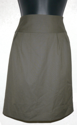 Express Women's Olive Green Above Knee Back Slit Lined Skirt (Size 10) *Reduced*