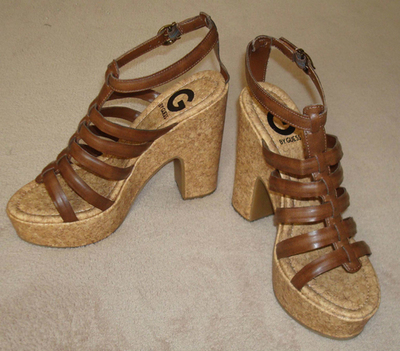 G By Guess NODESSA Women's Brown Platforms Wedges Sandals Heels (Size 6.5 Medium) *Reduced*