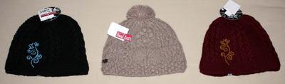 Fur Headwear Women's Amelia Or Roxana Hand Knit Beanie Hat (Several Choices)