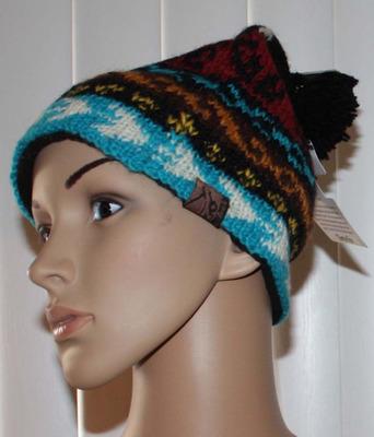 Turtle Fur Nepal BIKO Women's Multi-Colored Hand Knit Beanie Hat (One Size)