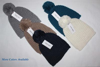 Nine West Women's Crocheted Beanie Hat With Pom Pom (One Size)