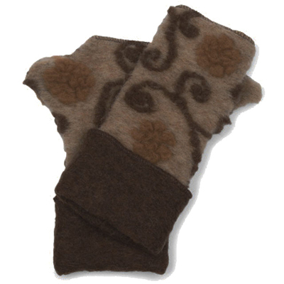 Lafenice Women's Heathered Beige/Tan/Brown Floral Print Fingerless Gloves