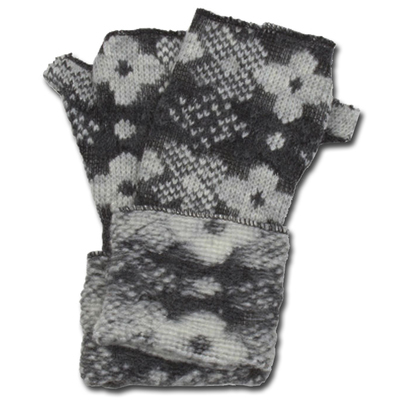 Lafenice Women's Charcoal Gray/White Floral Print Fingerless Gloves