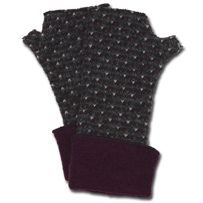 Lafenice Women's Heathered Charcoal/White/Deep Burgundy Print Fingerless Gloves