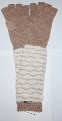 Calvin Klein Women's Heathered Almond Text Enable Fingerless Gloves (One Size)
