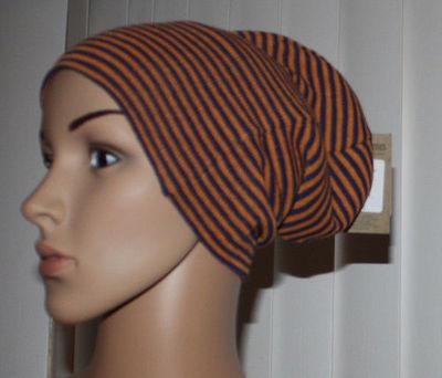 Volcom V CO LOVES Women's Blue & Orange Striped Reversible Beanie Hat (One Size)