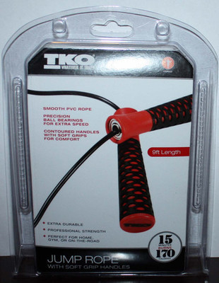 TKO Red & Black 9ft Soft Grip Handles Cardio Jump Rope