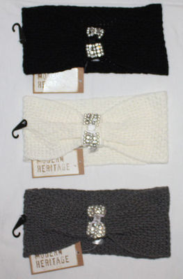 Modern Heritage Women's Faux Pearl & Rhinestone Embellished Knit Hairband (One Size)