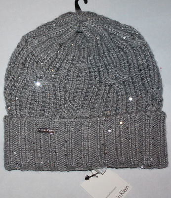 Calvin Klein Women's Chunky Gray/Silver Sequins Foldover Beanie Hat (One Size)
