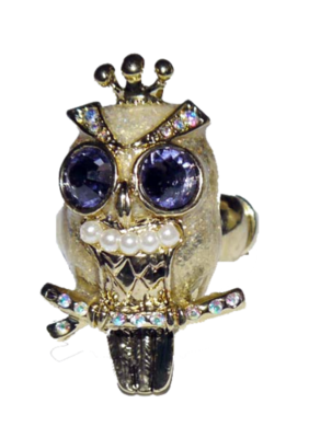 Betsey Johnson Gold Toned OWL Stretch Rhinestone Ring (One Size)