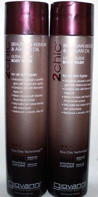 2 Giovanni 2Chic Brazilian, Keratin & Argan Oil Ultra-Sleek Body Wash 10.5 oz