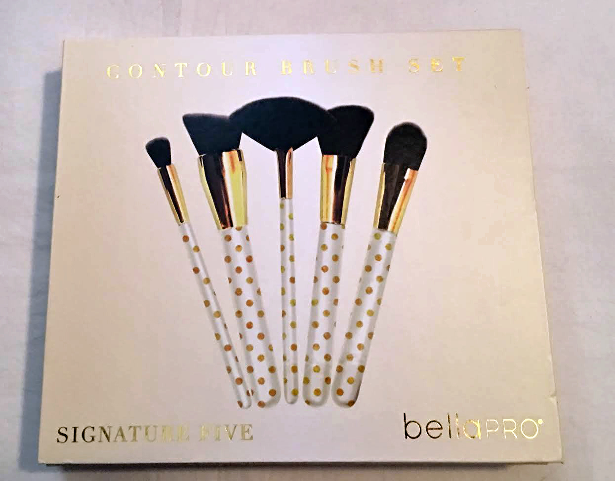 Bella Pro Signature Five White/Gold Polka Dots Contour Brush Set 14053