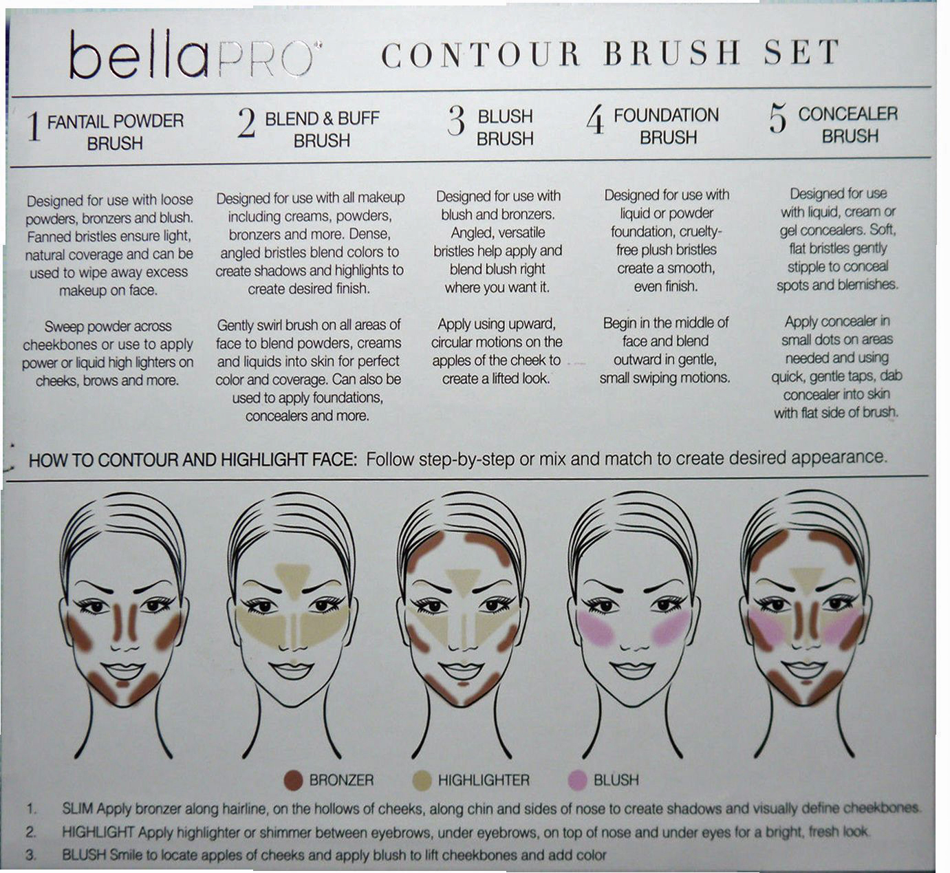 Bella Pro Signature Five White/Gold Polka Dots Contour Brush Set