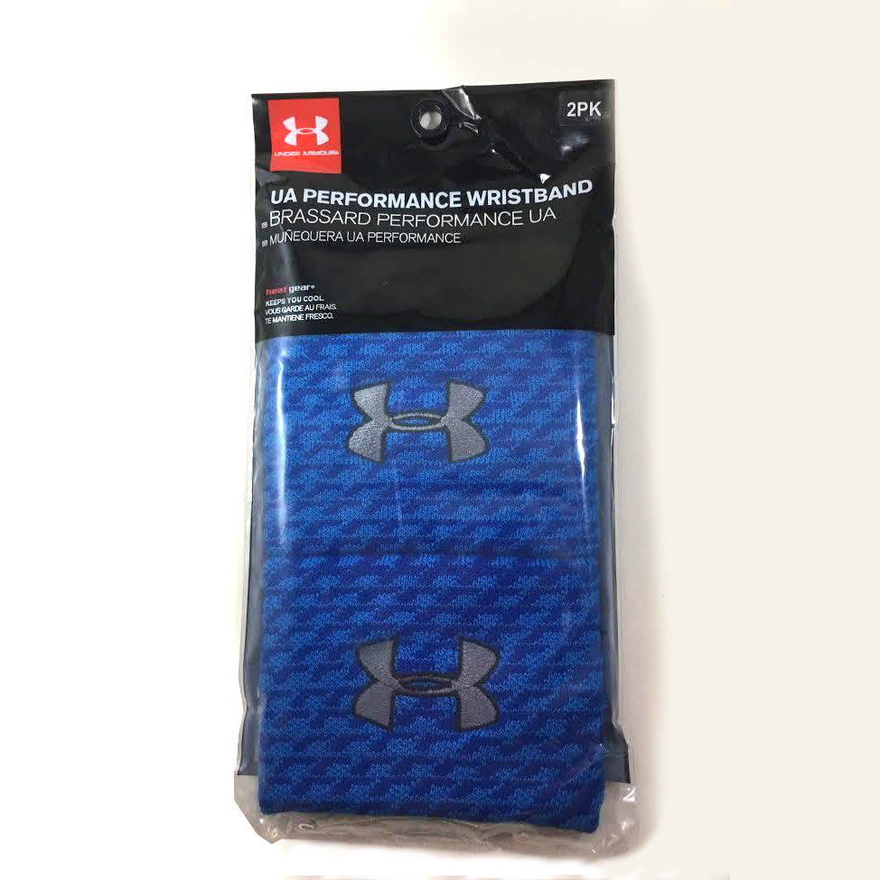 Under Armour Performance Brilliant Blue Print/Metallic Pewter UA Wristbands 14137