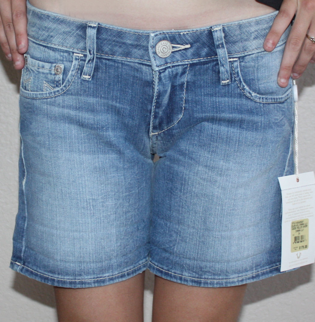 True Religion CASSIE Women's Rolled Denim Shorts -Color: Charming Lily  (2 Sizes Available)
