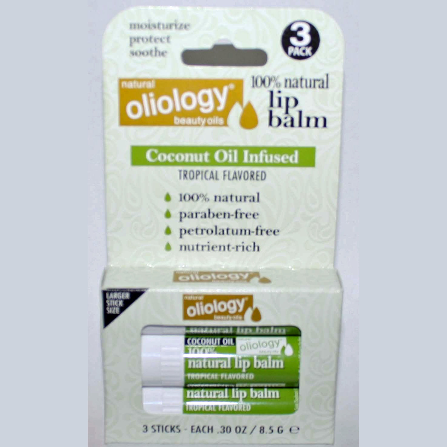 3 Pack Oliology 100% Natural Lip Balm Coconut Oil Infused/Tropical Flavored 11573