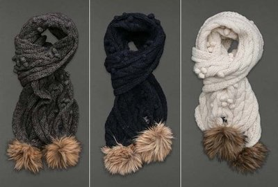 Abercrombie and Fitch Womens Soft Cable Knit Scarf (Several Colors)