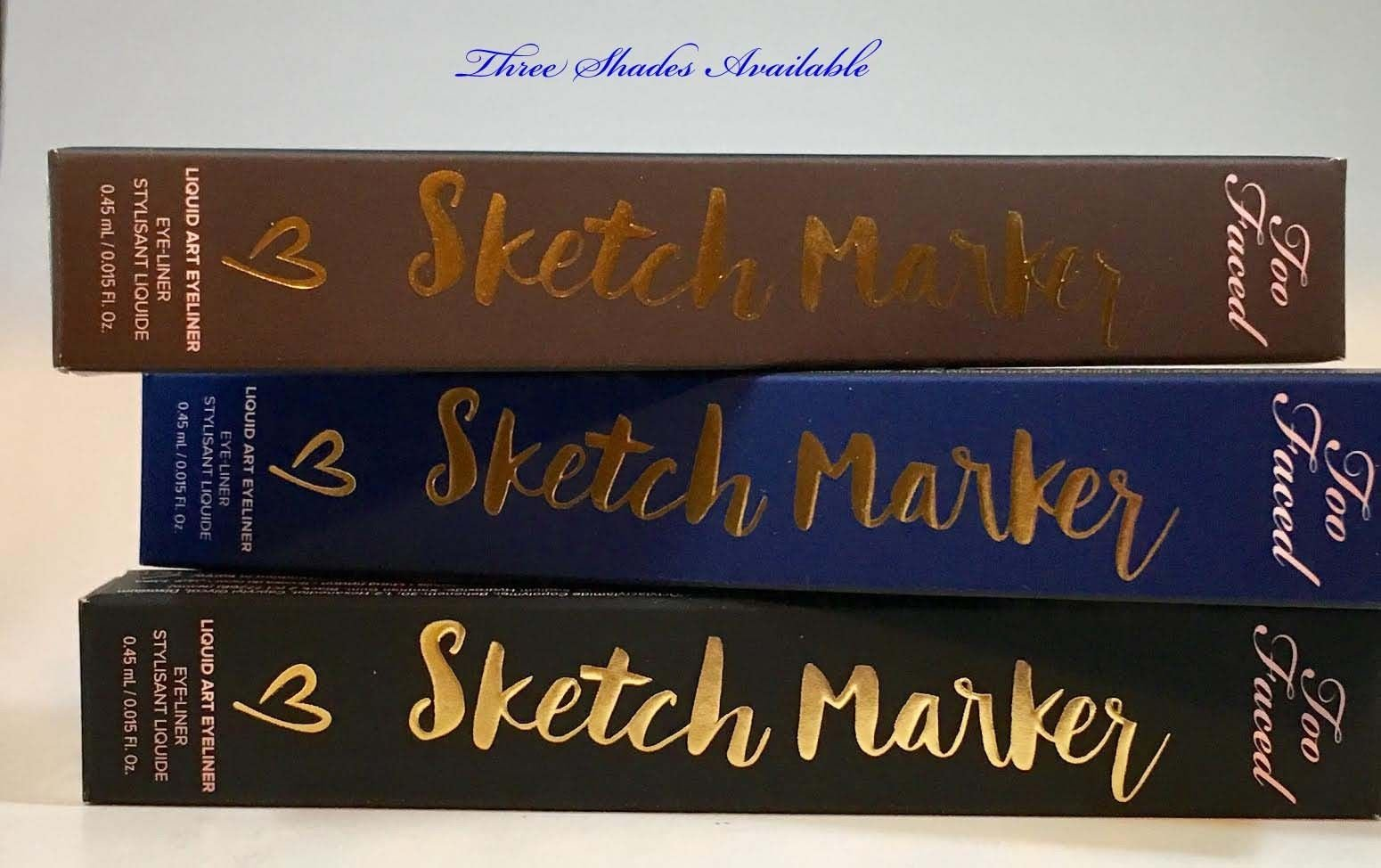 Too Faced Sketch Marker Liquid Art Waterproof Eyeliner 0.015 oz  (Several Shades) 14464