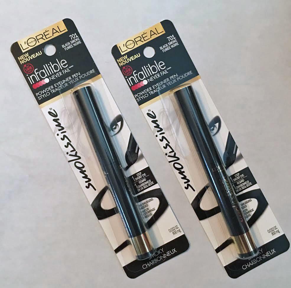 Lot 2 L'Oreal Paris Infallible Smokissime Powder Eyeliner Pen #701 Black Smoke 14487