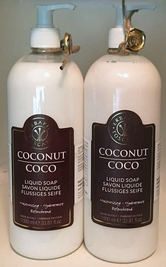 Lot of 2 Erbario Toscano Coconut Moisturizing Liquid Soap 33.81 oz Each 14546