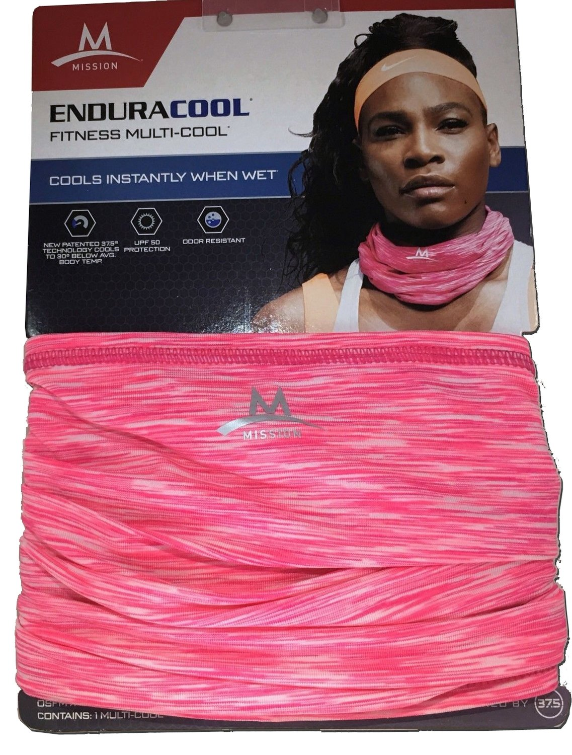 """Mission EnduraCool 10"""" x 10"""" Cooling System Wrap- Neon Pink Blur"""