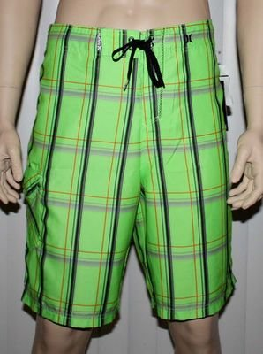 Hurley PUERTO RICO Men's Green/Black/Gray/Orange Plaid Swim Board Shorts -Size 32
