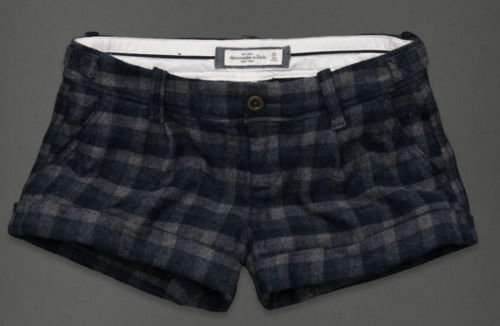 Abercrombie & Fitch CELESTE Wool Blend Cuffed Shorts -Navy Check (Size 2) *Reduced* 00855