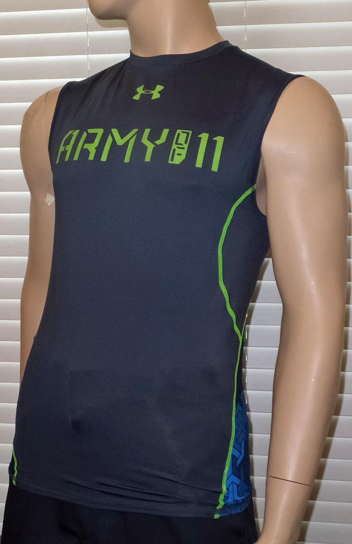 Under Armour Men's Graphite UA Army Of 11 Football Sleeveless Compression Shirt -Small