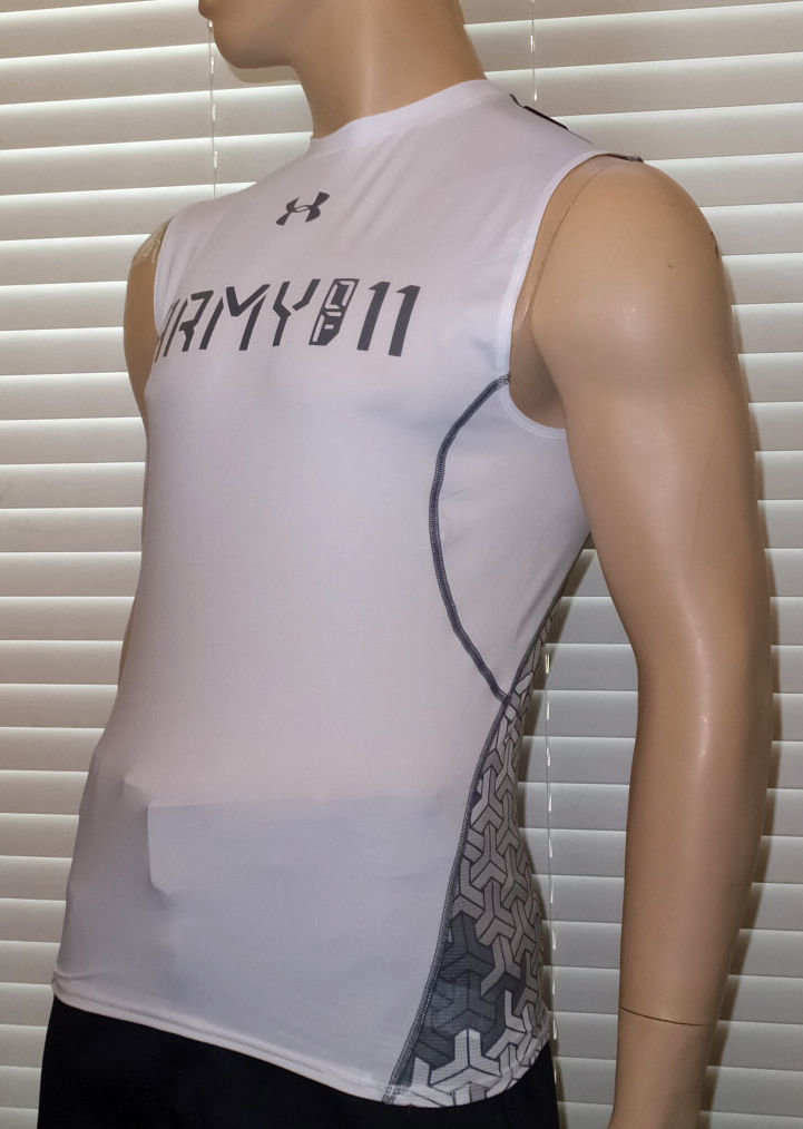 Under Armour Men's White UA Army Of 11 Football Sleeveless Compression Shirt -Small