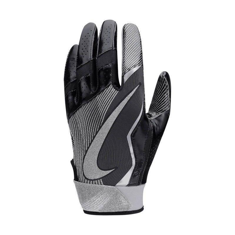 Nike Men Vapor Jet 4 Black/Gray/Metallic Silver High Speed Football Gloves -Small 14624