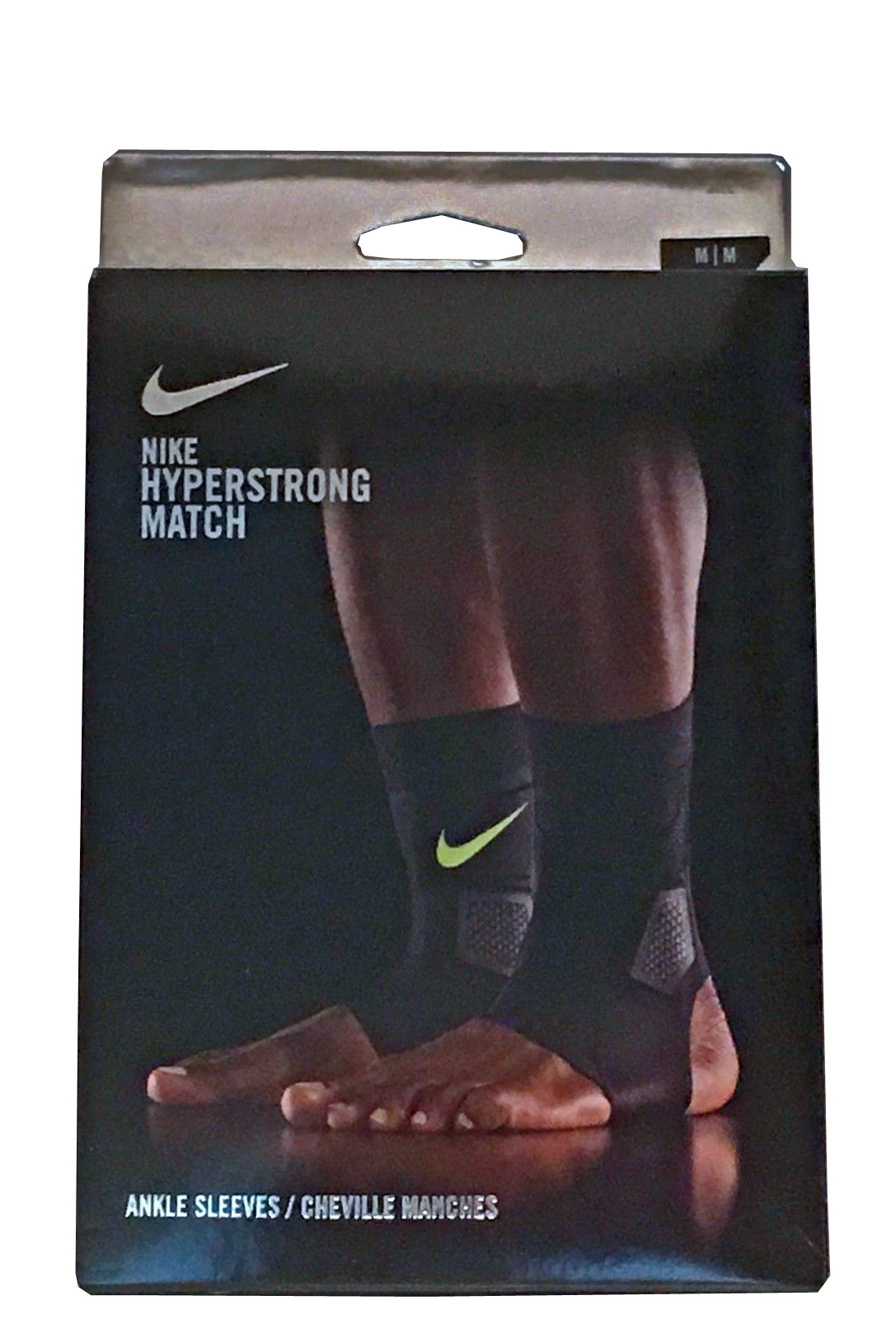 Nike Unisex Hyperstrong Match Black/Volt Swoosh Ankle Sleeves - X-Small 14649