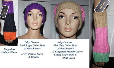 Juicy Couture Women's Color Block Mohair Beanie & Gloves Set (2 colors available)