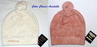 bebe Women's Calotte Boyfriend Logo Luxe Pom Pom Beanie Hat -Several Sizes