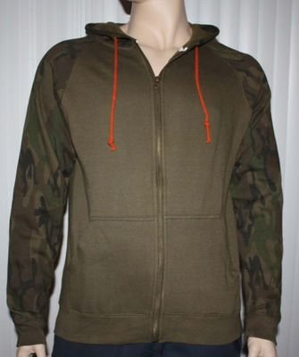 Brooklyn Trademark Mfg Co. Men's Brown Camo Accents Zip Front Hoodie Jacket
