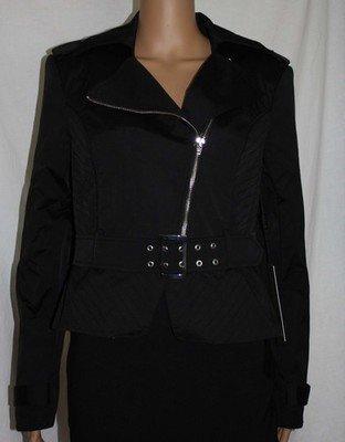 Bebe NOUVEAU RICHE Women's Black Zippered Belted MOTO Jacket (Several Sizes)