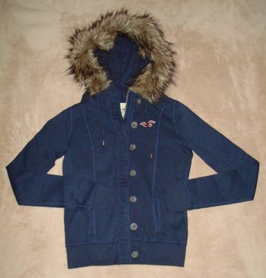 Hollister Women's Junior Navy Button Zip Front Fur Hooded Jacket