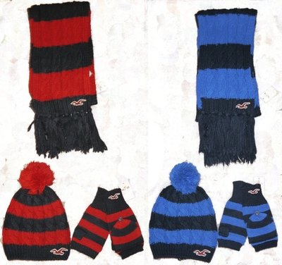 Hollister Striped Vintage Scarf Cozy Hat & Classic Gloves Set  (Several Colors)
