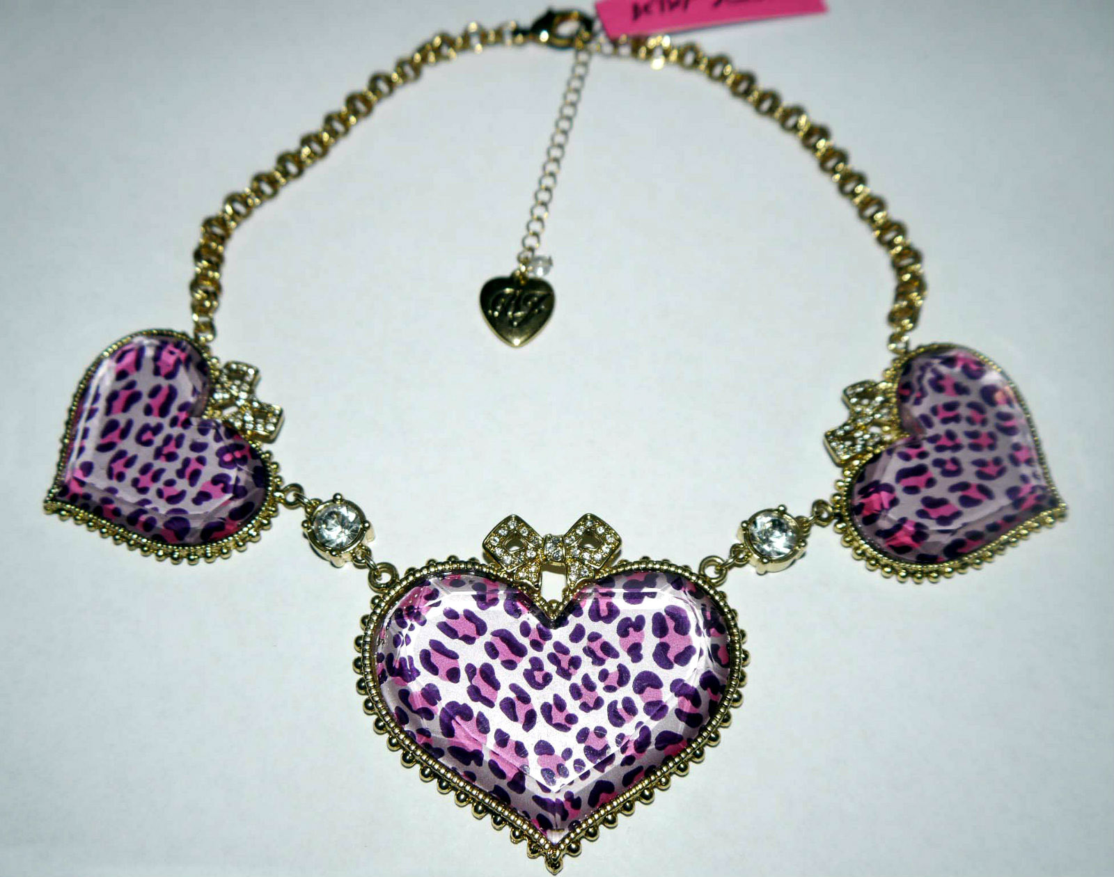 Betsey Johnson Gold Toned Bubbled Leopard Heart Rhinestone Necklace