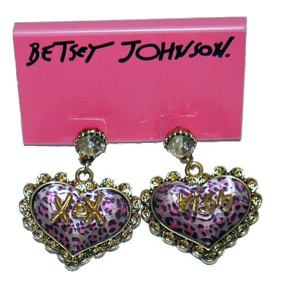 Betsey Johnson Gold Toned Bubbled Leopard Heart Rhinestone Earrings