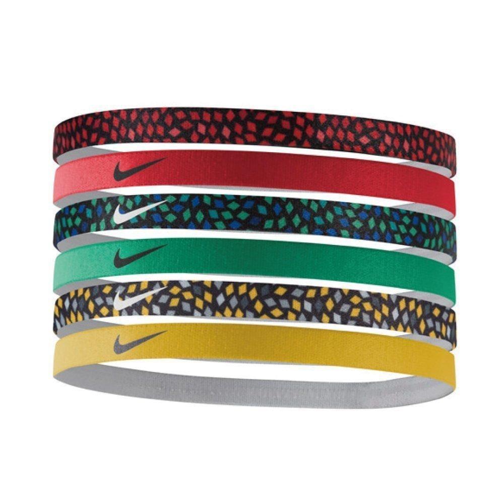 Nike 6 Pk Assorted Red/Yellow/Green/Printed Swoosh Headbands 14756