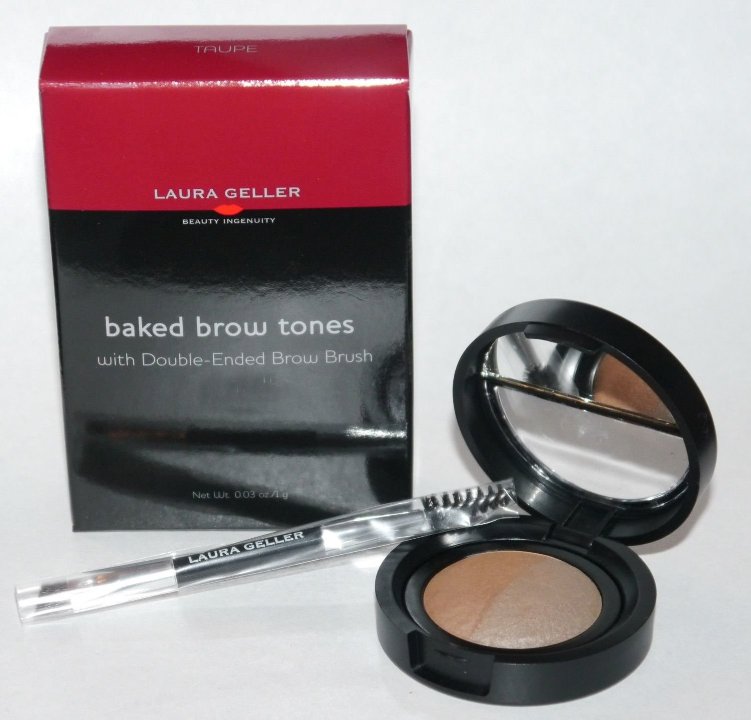 Laura Geller Baked Eye Brow Tones & Double-Ended Brow Brush .03 oz -Taupe