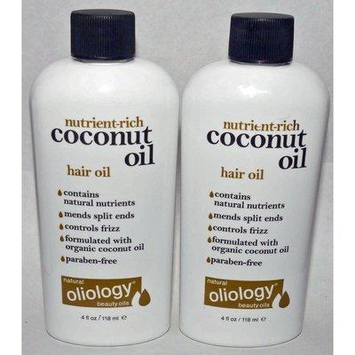 Lot of 2 Oliology Nutrient-Rich Coconut Oil Hair Oil 4 oz each