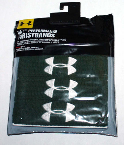 "2 Pair UA Under Armour Unisex 1"" Performance Wristbands - Green 06256"