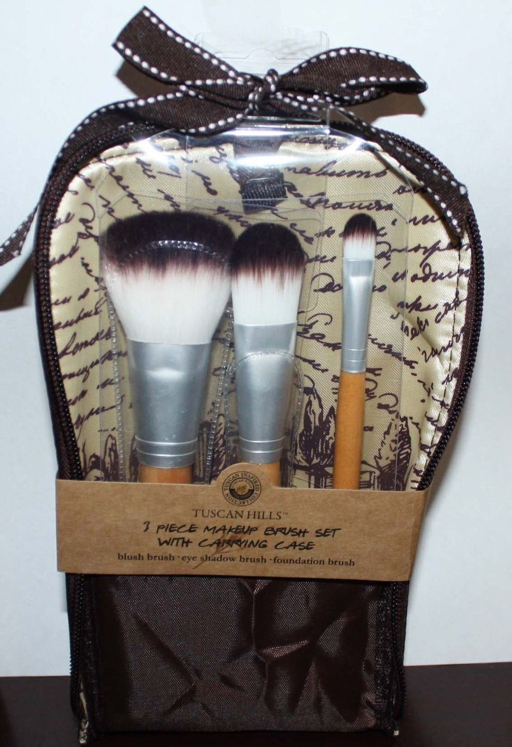 Tuscan Hills 3 Pc Makeup Brush Set With Carrying Case