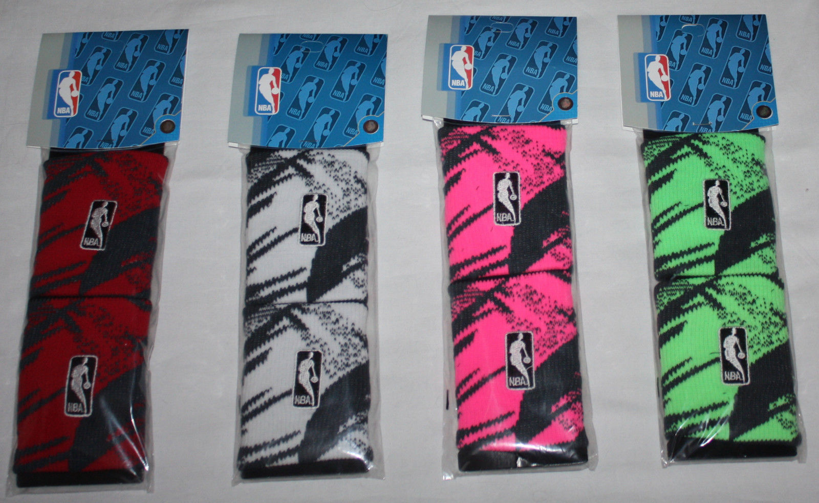 1 Pair NBA For Bare Feet Men's Camo Bright Wristbands 09357